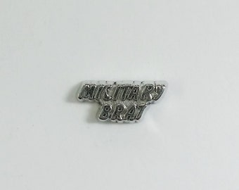 1 PC - Military Brat Silver Charm for Floating Locket F0062
