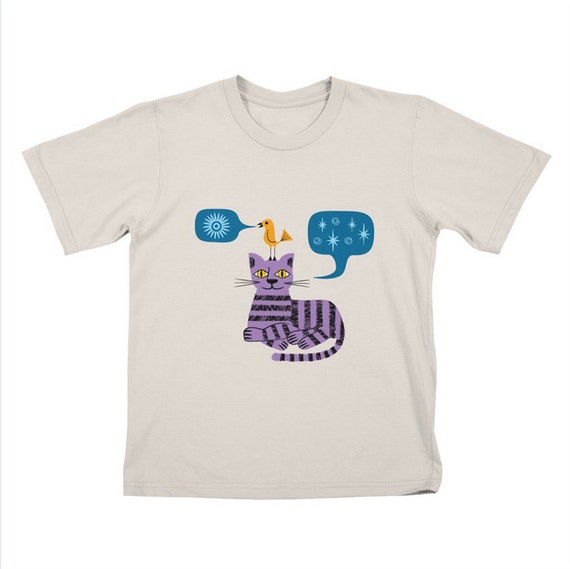 The Conversation - Children's T-shirt - Tee  - Cat and Bird - Stone - White by Oliver Lake - iOTA iLLUSTRATION