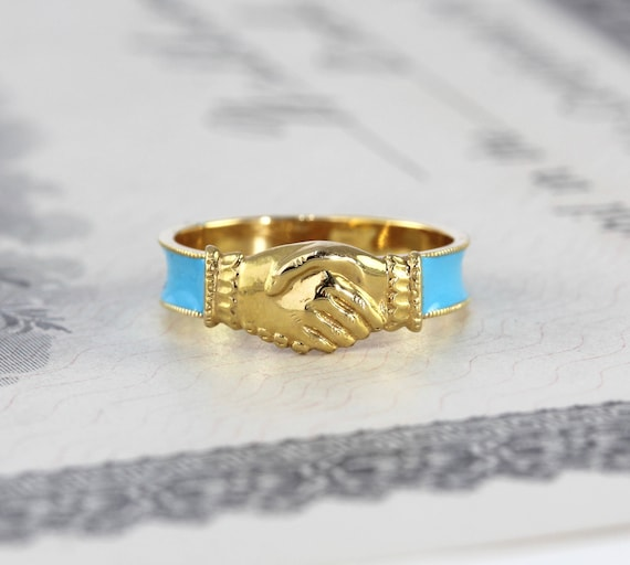 Antique fede ring 14k yellow gold blue enameled band hands like this item thecheapjerseys Image collections