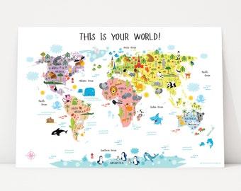 Nursery Decor Girl, Baby Girl Nursery Wall Art, World Map Poster, Baby Girl Nursery, Baby Girl Room Decor, Newborn Baby Girl Gifts, USA, UK