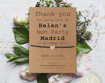 HEN PARTY Friendship Thank You Wish Bracelet Friend wedding favours engagement Bride Hen do Kraft card goody bags hen weekend night gift
