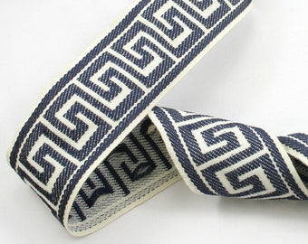 "Woven  Navy blue Greek Key jacquard trim -2,5"" wide,by the yard,decorative"