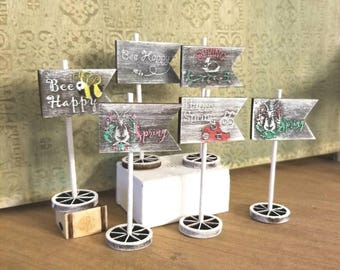Miniature Dollhouse Spring flag signs in several styles 1:12 scale
