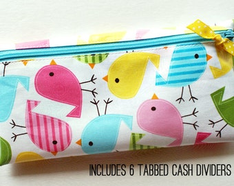 Divide-It cash budget envelope system wallet with 6 tabbed dividers | aqua, yellow, green, pink birds designer laminated cotton