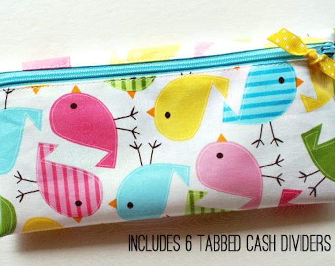 Pastel birds Divide-It cash budget envelope system wallet