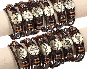 Zodiac Bracelet Women & Men Geniune  Leather Bracelets
