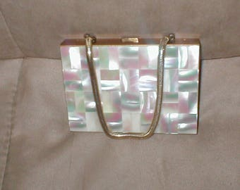 Vintage 1940s Mother of Pearl Minaudiere Purse
