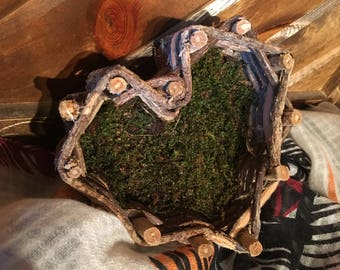Heart Shaped Basket Lined with Moss