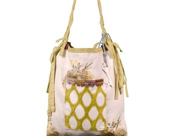 Large Carry All Shoulder Tote Bag Floral Print with Fringes Bohemian Love