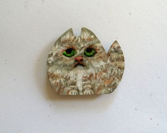 Cat magnet, Hand painted magnet, Refrigerator magnet, Kitten magnet, Office magnet, Unique Gift, Mini Card included, Whimsical magnet