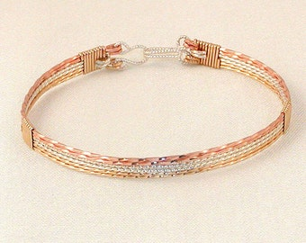 Tricolor wire wrapped bracelet