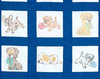 Nursery Quilt Blocks, Puppies for a Baby Quilt Jack Dempsey Embroidery Pattern # 24 Fabric Painting NIP