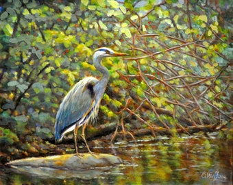 The Great Blue Heron with Berry Bush 2