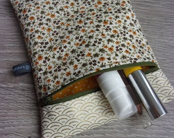 "Small cosmetic case collection ""Autumn in Tokyo"". Yellow, Khaki and off-white / Japanese fabric"