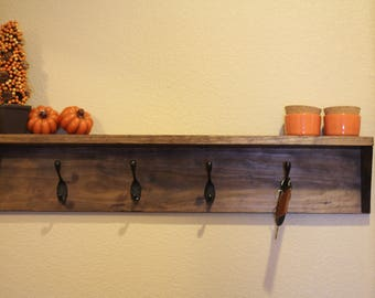 Rustic Wood 4Hooks Coat Rack with Shelf.