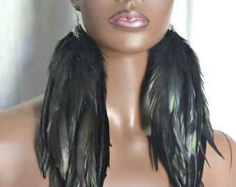 Long Black Feather Earrings, Bohemian Jewelry, Black Earrings