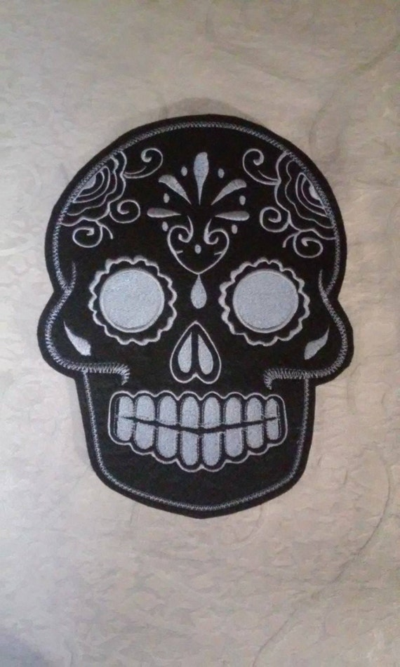 Sugar Skull, Day of the Dead, embroidery patch black with grey stitching 8x10