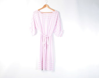 Vintage 80s pink striped sun dress