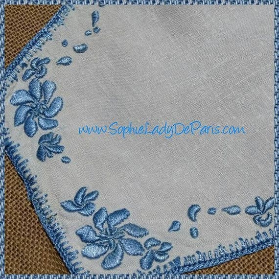 Vintage French White Hemp Doily French Handmade Blue Hand Embroidered Table Center #sophieladydeparis
