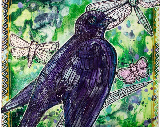 Original Purple Martin and Insects Painting by Lynnette Shelley