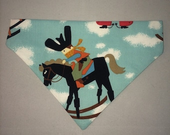 Handmade slip on dog bandana cowboys