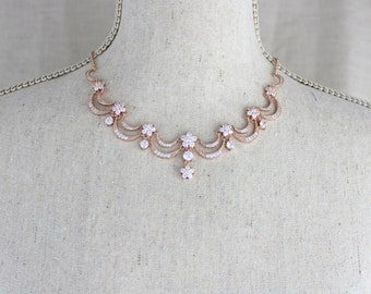 Rose Gold Bridal Set Bridesmaids Jewelry Set Crystal Pendant