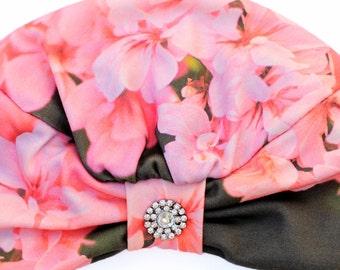 Turban Hat - Women's Organic Cotton Headwrap - Geranium Floral Print Hair Wrap - Wearable Art