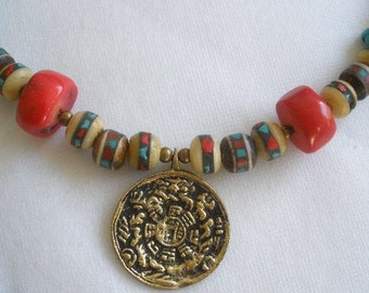 Tibetan Mandala Necklace, Tibetan Jewelry, Ethnic Jewelry, Statement Necklace