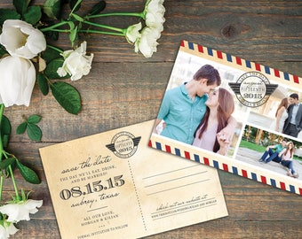 Custom Photo Collage Travel Save the Date Postcards, Printable or Printed