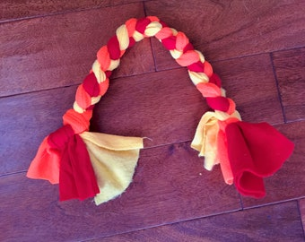 """Dog Tug 18"""" Fleece, Braided, Dog Toy - Fire Red, Bright Orange and Yellow"""