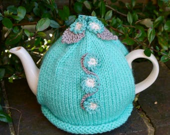 Turquoise Tea Cosy with Forget-me-not Flowers