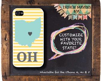 Ohio iPhone Case, Personalized State Love iPhone Case, iPhone 4, 4s, iPhone 5, 5s, 5c, iPhone 6, 6s, 6 Plus, SE, iPhone 7, 7 Plus