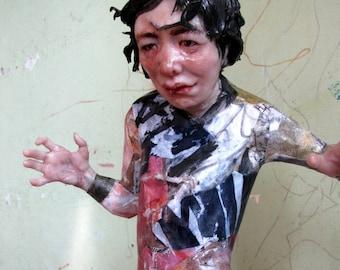 Figure, Contemporary mixed media sculpture, expressionism art, realistic figure, figurative modern art, small table sculpture, weird art