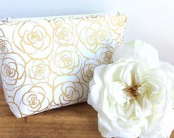 ROSE GOLD Makeup Bag - Brides Bag -  Bridesmaid Gift - Floral Makeup Bag - Wedding Day Bag - Gift for Her - Rose Gold Roses