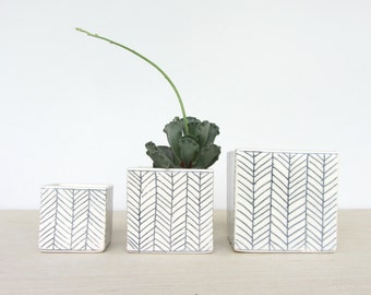 Medium Square Planter - Herringbone - Made to Order
