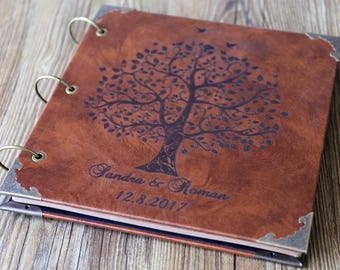 Personalized Engraved Leather Photo Album /Custom Family Tree Wedding Guest Book/wedding Scrapbook