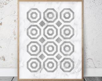 Black Circles Print, Geometric Pattern Wall Art, Aztec Wall Decor, Black Grey and White Art, Scandinavian Poster Print Geometric Print Large