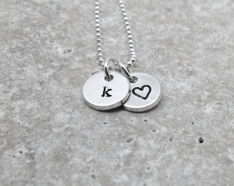 Letter k Necklace, Tiny Heart Necklace, Initial Necklace, Personalized Jewelry, Charm Necklace, Sterling Silver Jewelry, All Initials, k,