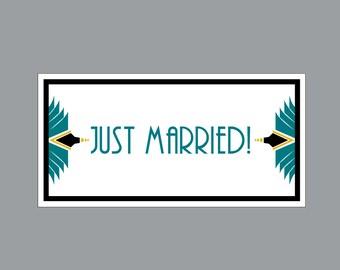 Just Married Wedding Car Magnets - Car Magnet Vintage Antique Art Nouveau Art Deco Just Married Wedding Car Magnets
