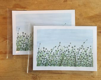 A5 flower field original print