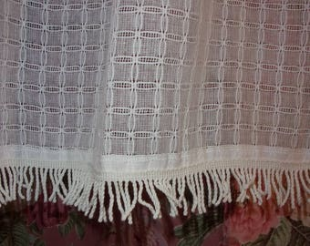 small 2 tier, made of old fabric and fringed lace old kind curtains