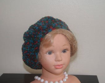 NICE BERET BLUE AND RED WOOL ACRYLIC