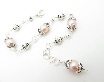 Freshwater Pearl and Sterling Silver Handmade Bracelet