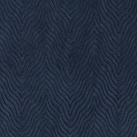 Modern Navy Blue Velvet Upholstery Fabric Textured Blue