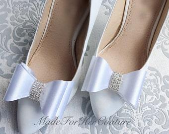 White Bow Shoe clips, wedding shoe clips, shoe clip ons, bridal shoe clips, wedding shoe clips, bridal shoes, Bow Shoe clips, white Shoeclip