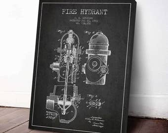 1903 Fire Hydrant Patent, Firefighter Poster, Firefighter Print, Fireman Wall Decor, Home Decor, Gift Idea, PFFD15C