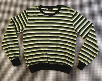 1970's, velour, pullover, in green, black and white, stripes, Women's size Small