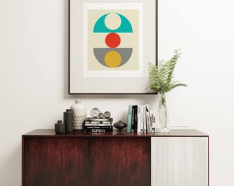 MCM16 - Funky Retro Graphic Poster in a Vintage Scandi Loft Living Style - Option of Canvas