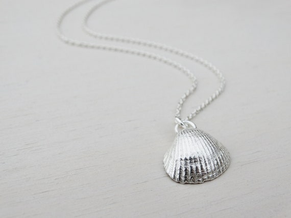 Silver Seashell Necklace, Sterling Silver