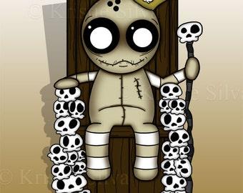 King of Skellies 8x10 digital art print by Kristie Silva skulls voodoo doll monster creature